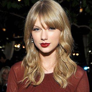 Celebrity Beauty & Makeup: Taylor Swift Dark Red Lipstick
